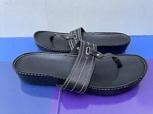 Women's Black Leather Timberland Toe Post Sandals - Size uk 7