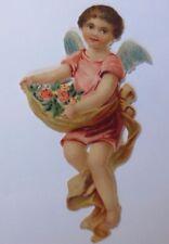 Oblaten,    Engel, Schürze, Rosen   13 cm x 6 cm    1910 ♥ (60859)