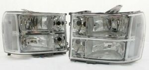 FOR 2007 - 2013 GMC Sierra Complete Direct Replacement Headlight Set Clear Lens