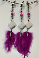 Clear Cyrstal Pink Feather - Set 3 Horse Mane Charm Bling Clip White Diamond