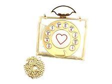 Plastic Vintage Rotary Phone Dial Hard Acrylic Clutch Purse ~ Great Gift Idea!