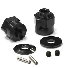 C24396BLACK Integy Billet Hex Wheel Hub Set(2)+5 Offset for Axial Wraith