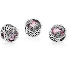Authentic Pandora 792055PCZ  Magnolia Enamel & Pink CZ Charm Bead W/ TAG