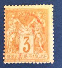 France N° 86 3 C Bistre Oblitère CAD Rouge TB Qualité Cote 70€