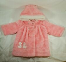 Sears Vintage Pink Infant Girl Coat Size M Hooded Ducks Medium