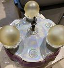 Antique German Porcelain Iridescent Light Fixture. 3 Bulb Flush Mount. Pink!