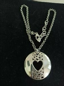 Brighton Designer Silver Plated Cut Out Heart~ Detailed Pendant Necklace~17 In.