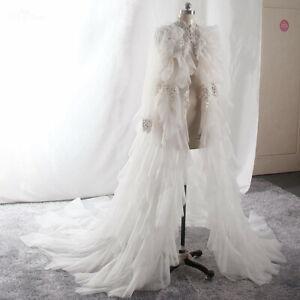 Wedding Tulle Shawl Lace Beaded Ruffle Bridal Cape Shrug wrap Jacket White Ivory