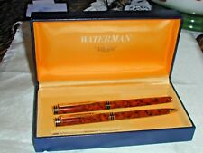 Waterman Exclusive Fountain Pen Solid 18k Nib 'F' Never Inked & Ballpoint Cognac
