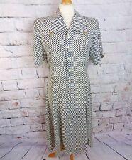 """Vintage Camisa Vestido 14 Busto 40"""" manchada Lunares Negro Blanco Retro 70s 80s Midi"""