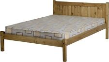 Maya Distressed Wax Pine Wood 4ft 6in Double Bed Frame - NEXTDAY Delivery