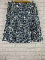 BCBG Maxazria A-Line Pleated Skirt Blue, Black, White print Sz 6 [AU10?]