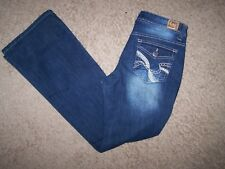 Juniors size 5 regular stretch L.E.I.blue jeans/30-32X31 flare leg/mid-rise