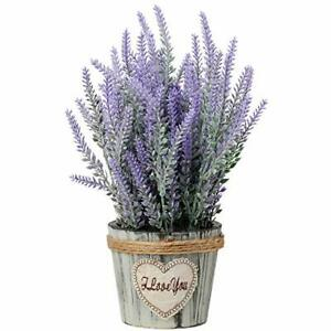 Artificial Lavender Potted Plant Fake Flower Plant in Rustic Oval Wooden Box -