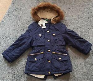 Girls BNWT Navy Winter Parka Coat Jacket 5-6years
