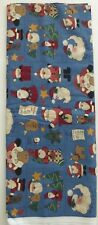 NEW Christmas Fabric Two Yards Santa Claus & Reindeer On Blue Background