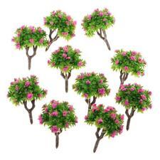 10pcs 1:200 Z Gauge Model Tree w/ Rose Red Blossom Architectural Landscape