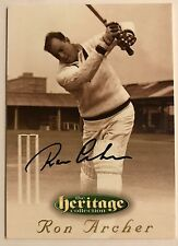 1995 FUTERA HERITAGE CRICKET COLLECTION CARD N0 31/60 SIGNED RON ARCHER