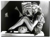 """BETTY GRABLE HALLOWEEN vintage pinup CANVAS ART PRINT poster 16""""X 12"""""""