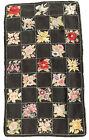 Antique American Folk Art Hooked Vintage Floral Album Rug 23 Flower Squares