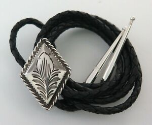 Sterling Silver Fritch Bros Nicely Etched Diamond Shape Bolo Tie