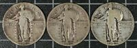 1920's Standing Liberty Silver Quarter US Type Coin Type 2 LOT OF 3 Philadelphia