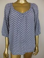 SUSSAN BLOUSE SMOCK BLUE PINK PRINT TOP TANK TUNIC SHIRT - 14 LARGE