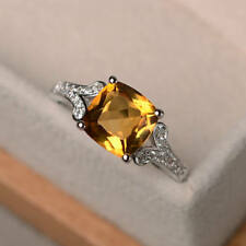Solid 14K White Gold Cushion Citrine Ring 2.95 Carat Real Diamond Wedding Rings