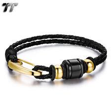TT Black Leather 316L S.Steel Bead Gold Clip Bracelet Wristband (BR209) NEW