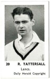 Daily Herald - 'Cricketers Series' (1954) - Card #20 - R. Tattershall (Lancas