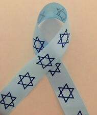 """Jewish Star of David Grosgrain Blue Star7/8"""" Ribbon for Hairbows Crafts Sewing"""