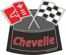CHEVELLE FLAGS CHROME AIR CLEANER DECAL Chevy Chevrolet Air Cleaner NEW RED