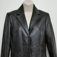 Mossimo Womens Leather Jacket XS Black Snap Buttons Long Sleeve