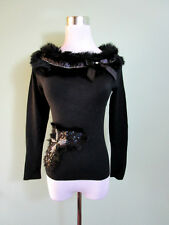 Ladies Knit Goth Vamp Real Rabbit Fur Collar Bow Embellish Blouse Top 10 S T85
