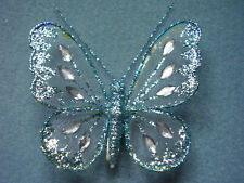 16cm x3 Decorative Glitter Jewelled Clip-on Butterfly Butterflies Wedding White