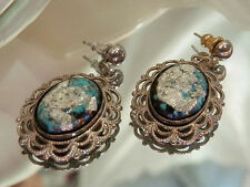 Really Pretty Vintage 1960's Foil Confetti Lucite Earrings  2100s