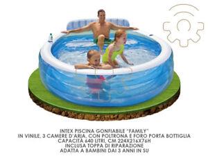 Intex 57190 Family piscina gonfiabile rotonda cm 224x216x76h 640 litri gioco