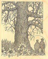 TREE WITH COUPLE LOVE Wood Mounted Rubber Stamp IMPRESSION OBSESSION G2514 NEW