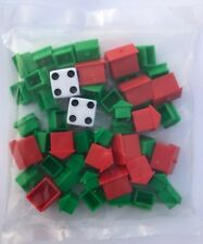 Monopoly Game Parts Plastic Green Houses and Red Hotels Replacements by Hasbro