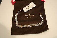 NWT Kate Spade Flash Mob mini bracelet gold toned/clear stones