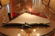 Large Antique French Silver Plated Mirrord  Plateau Centerpiece Table Tray