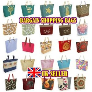 BARGAIN BAGS - NEW TOTE SHOPPING BAG CANVAS DENIM ROPE HANDLE ZIPPED TOP SEQUIN