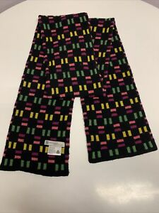 Green Grove Weavers Pure New Wool Scarf. Black With Pink, Green & Yellow Pattern