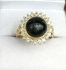 14k Solid Yellow Gold Cluster Diamond 0.66CT Ring Natural Black Onyx  Sz 7.75
