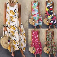 Women Summer Sleeveless Long Shirt Dress Party Holiday Beach Long Midi Sundress