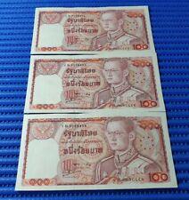 3X 1978 Thailand 100 Baht Note King Rama IX 1 B 3728454-3728456 Run
