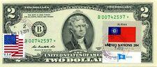 $2 DOLLARS 2013 STAR STAMP CANCEL FLAG FROM BURMA LUCKY MONEY VALUE $500