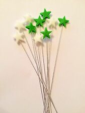 Edible Star Spray Green And White Cake Topper Decoration