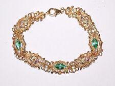 Black Hills Gold Marquise Emerald Helenite Leaves Bracelet 10 kt 12 kt Coleman