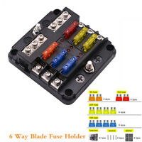 6 Way Blade Fuse Holder PBT PC Fuse Box Block Case 12V/24V Car Truck Boat Marine